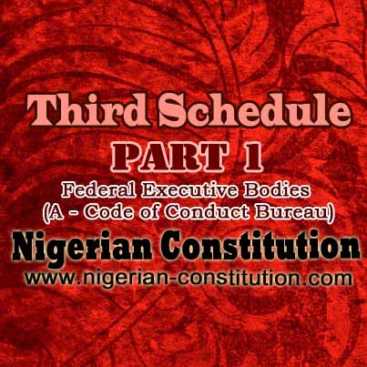 Schedule 3 Part 1 Federal Executive Bodies A